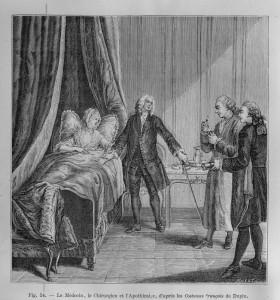 Le médecin, le chirurgien et l'apothicaire au XVIIIe siècle. Source : Medic@
