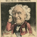 Caricature d'Eugène Michel Chevreul (1786-1889) par Bridet. Source Medic@
