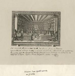 Intérieur d'une apothicairerie au XVIIe siècle. Source : Medic@