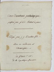 Page de titre du cours noté par Jean Joseph Duchier