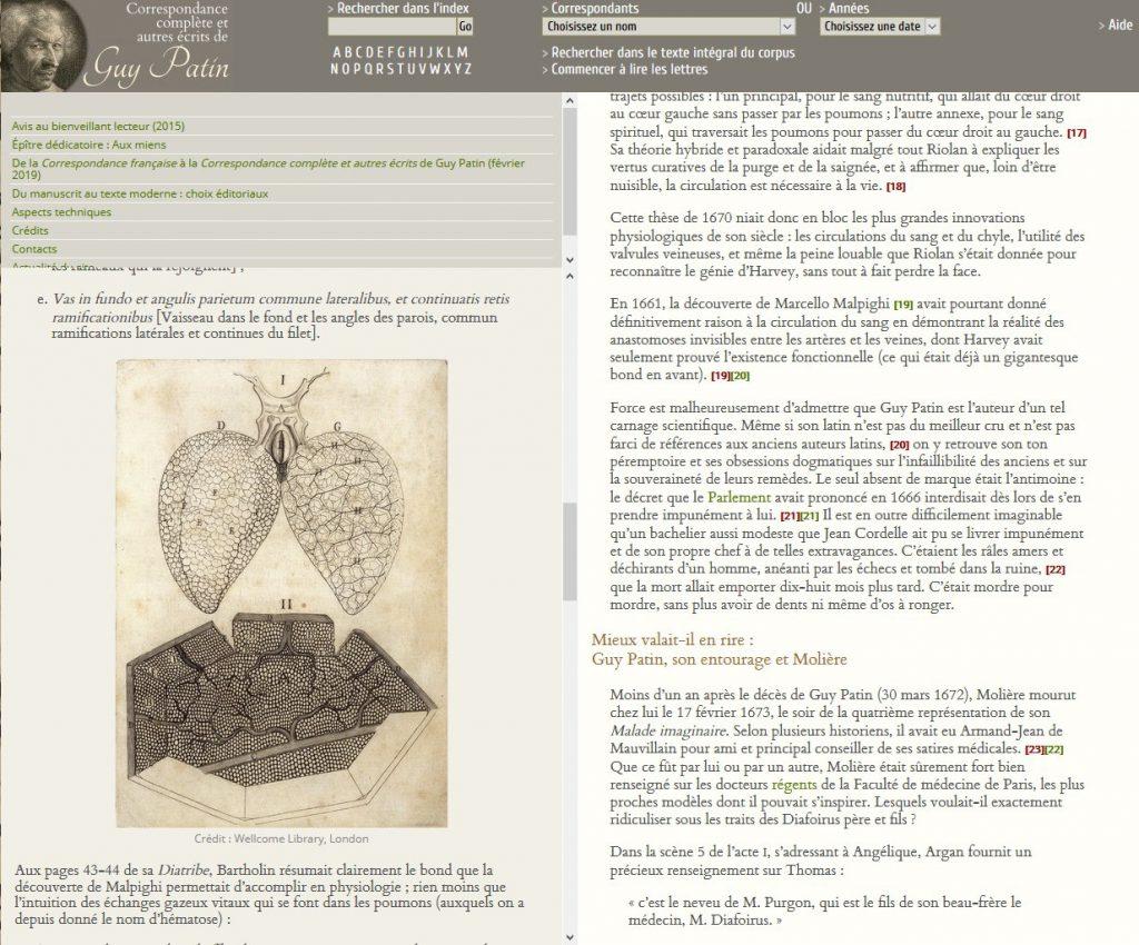 """Annexe """"Thomas Diafoirus (1673) et sa thèse (1670)"""", note 19 sur Malpighi"""