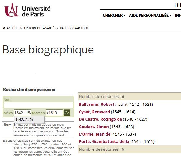 Recherche par dates dans la Base biographique