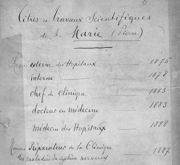 Marie, Pierre. Titres et travaux scientifiques