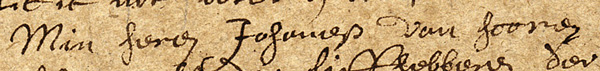 Johannes Van Horne's name, in Ms 29