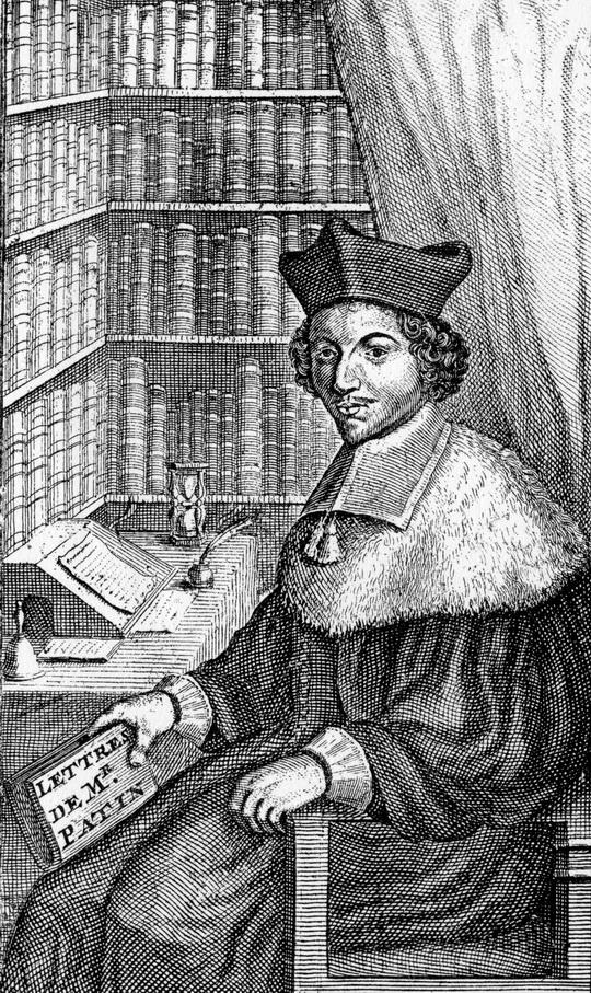 portrait de Patin en frontispice de la première édition de la correspondance : Lettres choisies de Feu Monsieur Guy Patin… (Francfort [Genève], 1683)