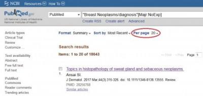 Affichage du nombre de résultats par page dans PubMed