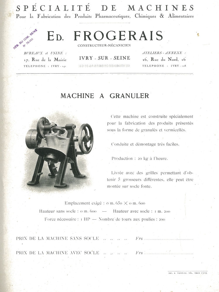Spécialité de machines ... Edmond Frogerais. Machine à granuler - Etablissements Edmond Frogerais. Pharmacie. Industrie. Machine. - impharma_num0017