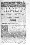 [Bandeau et lettrine : G] - Hieronymi Mercurialis,... In omnes Hippocratis Aphorismorum libros  prae [...]