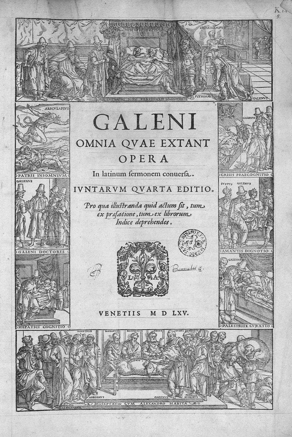 [Frontispice portant les représentations de Galien, d'Aesculape] - Galeni omnia quae extant opera /  [...] - Ornements typographiques. Médecins. Lits (meubles). Mythologie, Antiquité, 16e siècle (Grèce, Rome, Italie) - med00042x00x0001