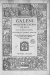 [Frontispice portant les représentations de Galien, d'Aesculape] - Galeni omnia quae extant opera /  [...]