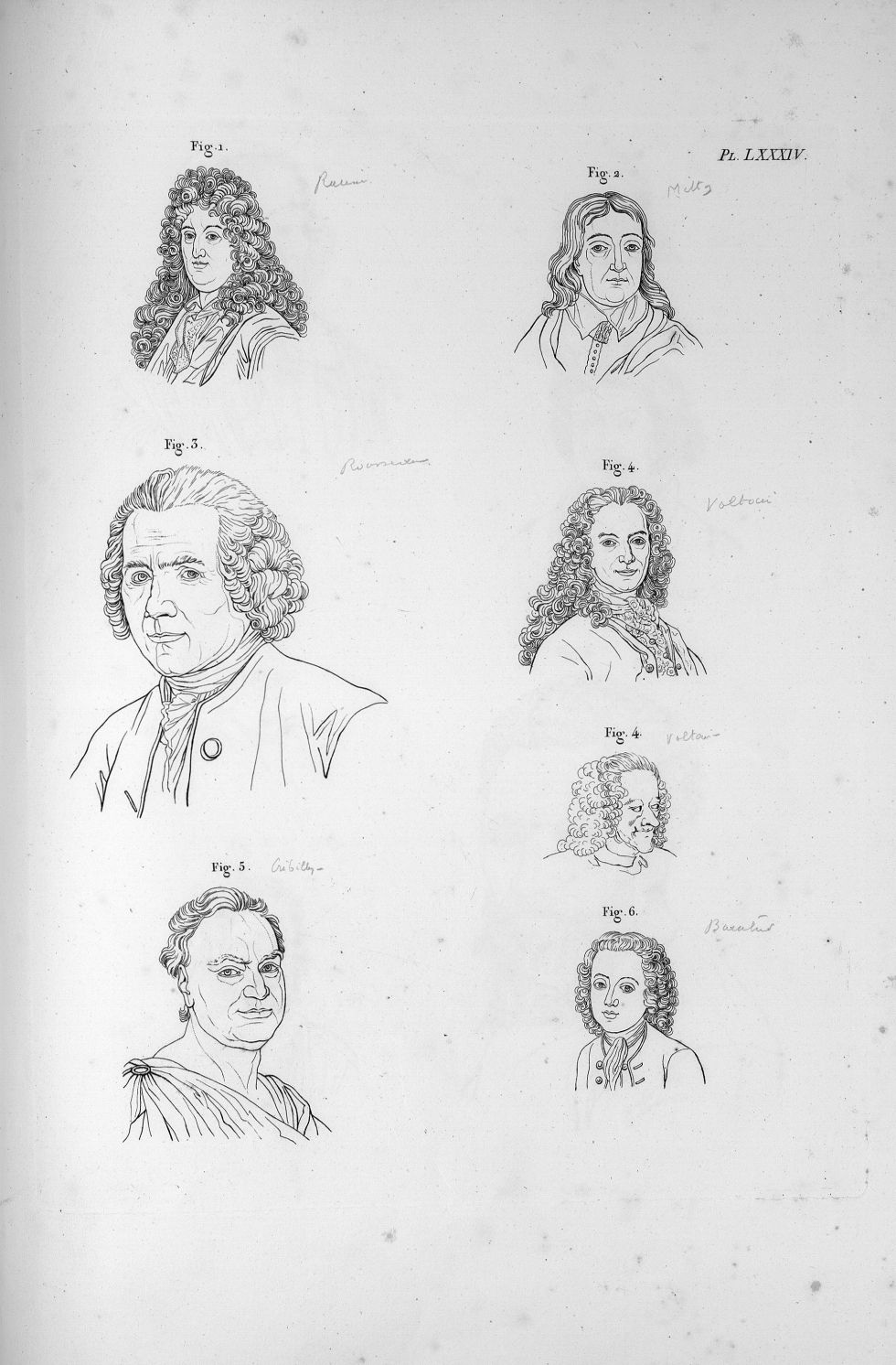 Pl. LXXXIV. Fig. 1. Racine / Fig. 2. Milton / Fig. 3. Rousseau / Fig. 4. Voltaire jeune et vieux / F [...] - Anatomie. Neurologie. Têtes. Phrénologie. 19e siècle (France) - med00575x04x0301