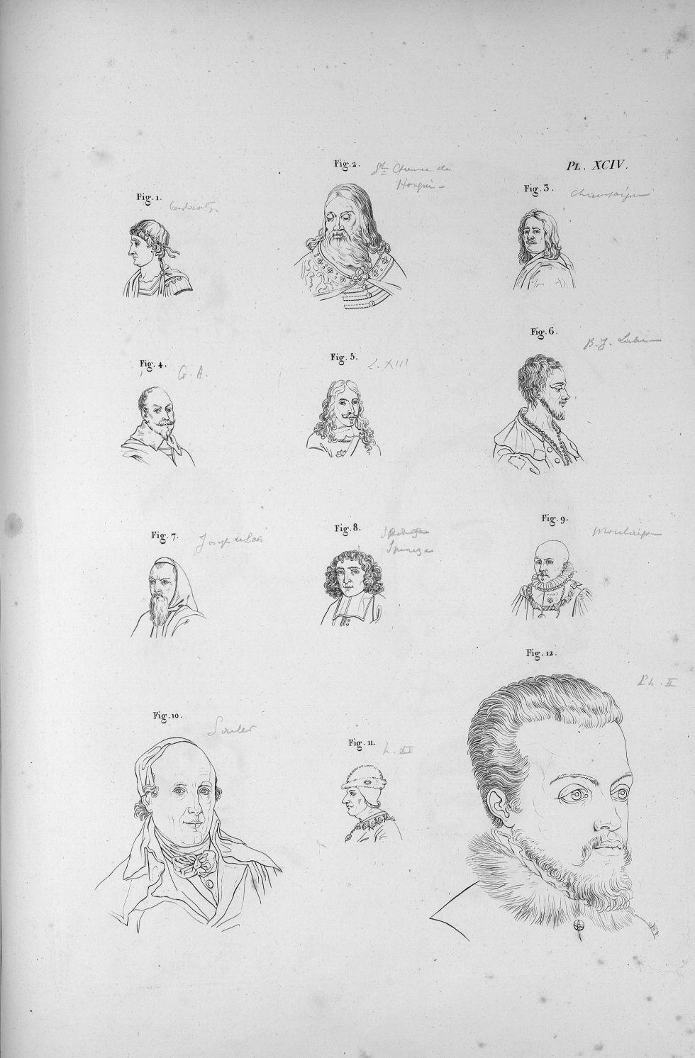 Pl. XCIV. Fig. 1. Constantin / Fig. 2. Saint Etienne, roi de Hongrie / Fig. 3. Champagne / Fig. 4. G [...] - Anatomie. Neurologie. Têtes. Phrénologie. 19e siècle (France) - med00575x04x0321