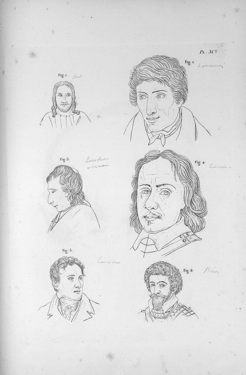 Pl. XCV. Fig. 1. Un Christ / Fig. 2. L'abbé F. de la Mennais / Fig. 3. Jacques-Léonard Perocheau / F [...] - Anatomie. Neurologie. Têtes. Phrénologie. 19e siècle (France) - med00575x04x0323