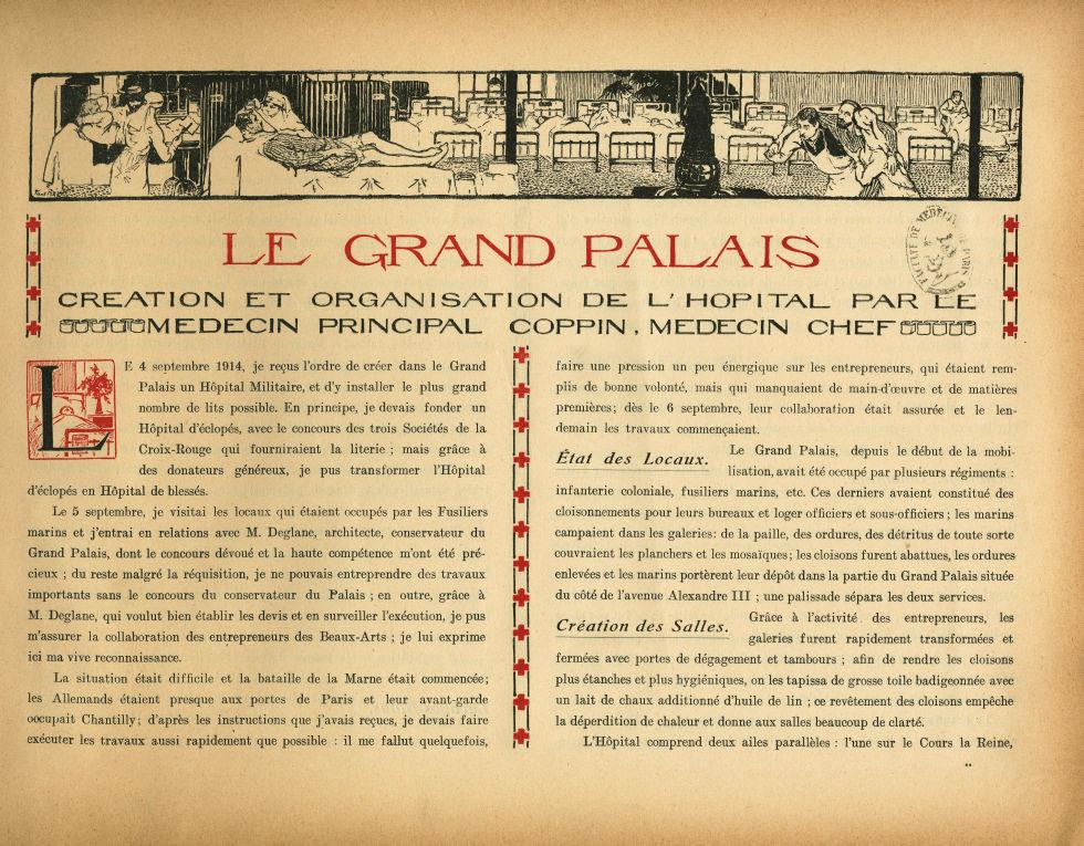 [Bandeau : salle de l'hôpital installé dans le Grand Palais] - Le Grand Palais pendant la guerre (19 [...] -  - med02077x0009