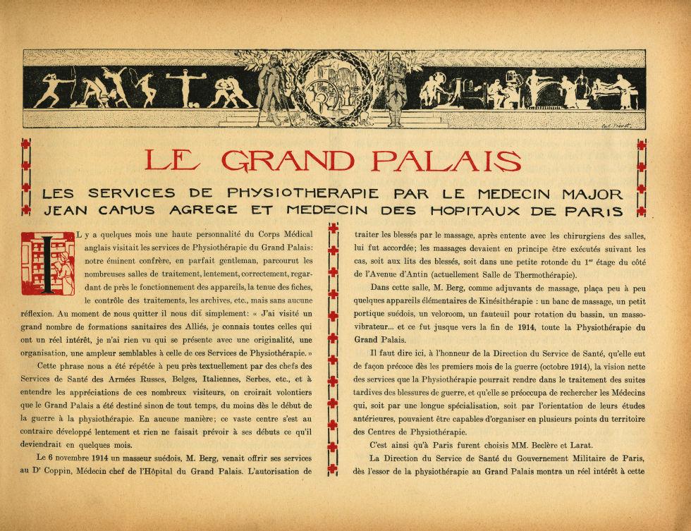 [Bandeau : sport et soins médicaux] - Le Grand Palais pendant la guerre (1914-1915-1916) -  - med02077x0013