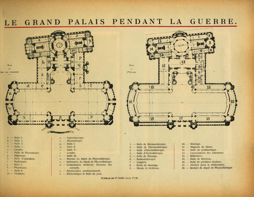 Le Grand Palais pendant la guerre. Plan du rez-de-chaussée / Plan du 1er étage - Le Grand Palais pen [...] -  - med02077x0023