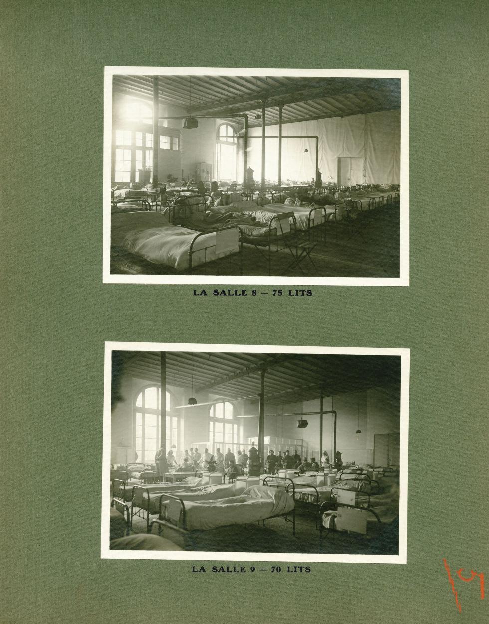 [Le Grand Palais pendant la guerre] La salle 8 - 75 lits / La salle 9 - 70 lits - Le Grand Palais pe [...] -  - med02077x0029