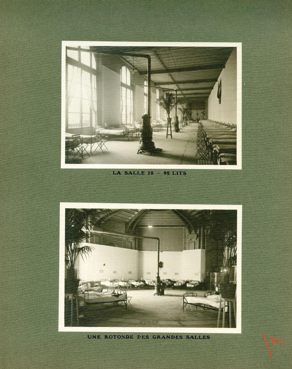 [Le Grand Palais pendant la guerre] La salle 10 - 95 lits / Une rotonde des grandes salles - Le Gran [...] -  - med02077x0030