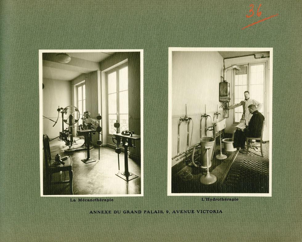 [Le Grand Palais pendant la guerre] Annexe du Grand Palais, 9, avenue Victoria. La mécanothérapie / L'hydrothérapie -  - med02077x0060