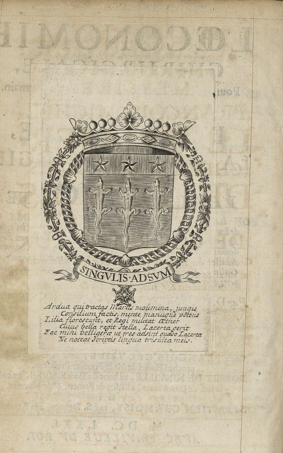 [Armoiries de Michel Le Tellier, marquis de Louvois] - L'Oeconomie chirurgicale, pour le r'habilleme [...] -  - med05207x0010