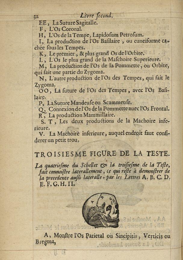 Troisiesme Figure de la teste - L'Oeconomie chirurgicale, pour le r'habillement des os du corps huma [...] -  - med05207x0059