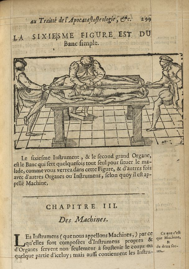 La sixiesme Figure est du banc simple - L'Oeconomie chirurgicale, pour le r'habillement des os du co [...] -  - med05207x0328