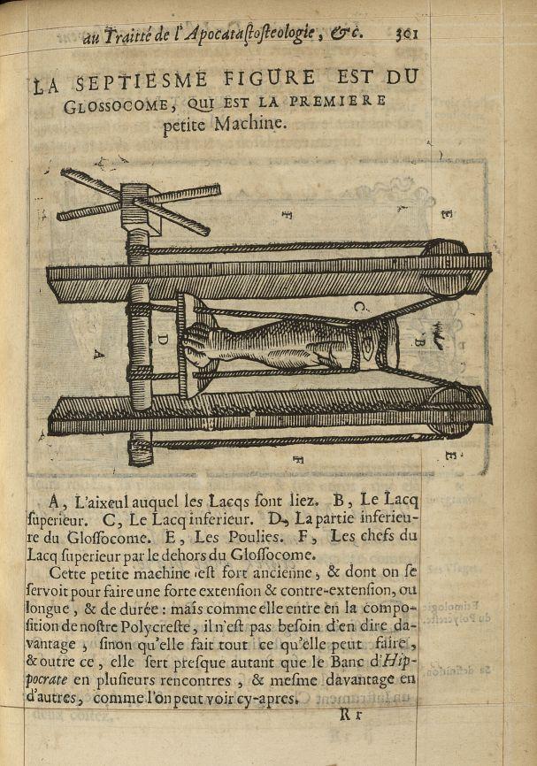 La septiesme Figure est du glossocome, qui est la premiere petite machine - L'Oeconomie chirurgicale [...] -  - med05207x0330