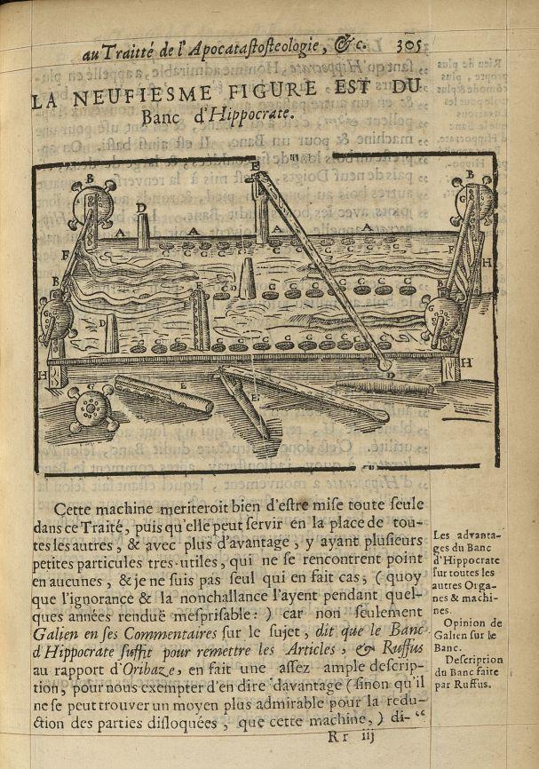 La neufiesme Figure est du banc d'Hippocrate - L'Oeconomie chirurgicale, pour le r'habillement des o [...] -  - med05207x0334