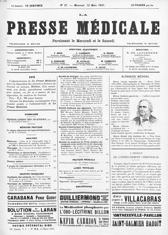 Broca (1824-1880) - La Presse médicale - [Volume d'annexes] -  - med100000x1901x01xannexesx0125