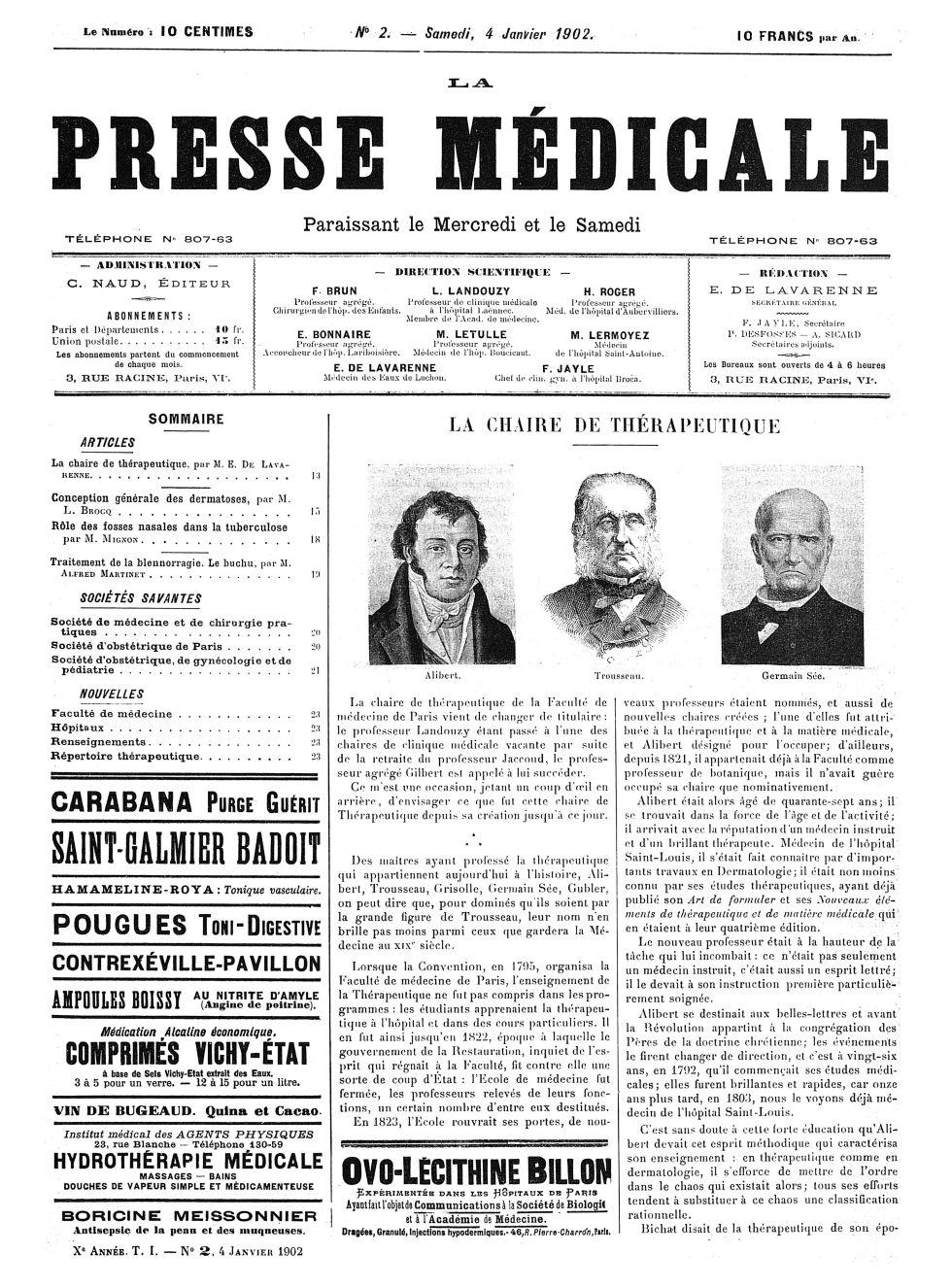 Alibert / Trousseau / Germain Sée - La Presse médicale - [Articles originaux] -  - med100000x1902xartorigx0017