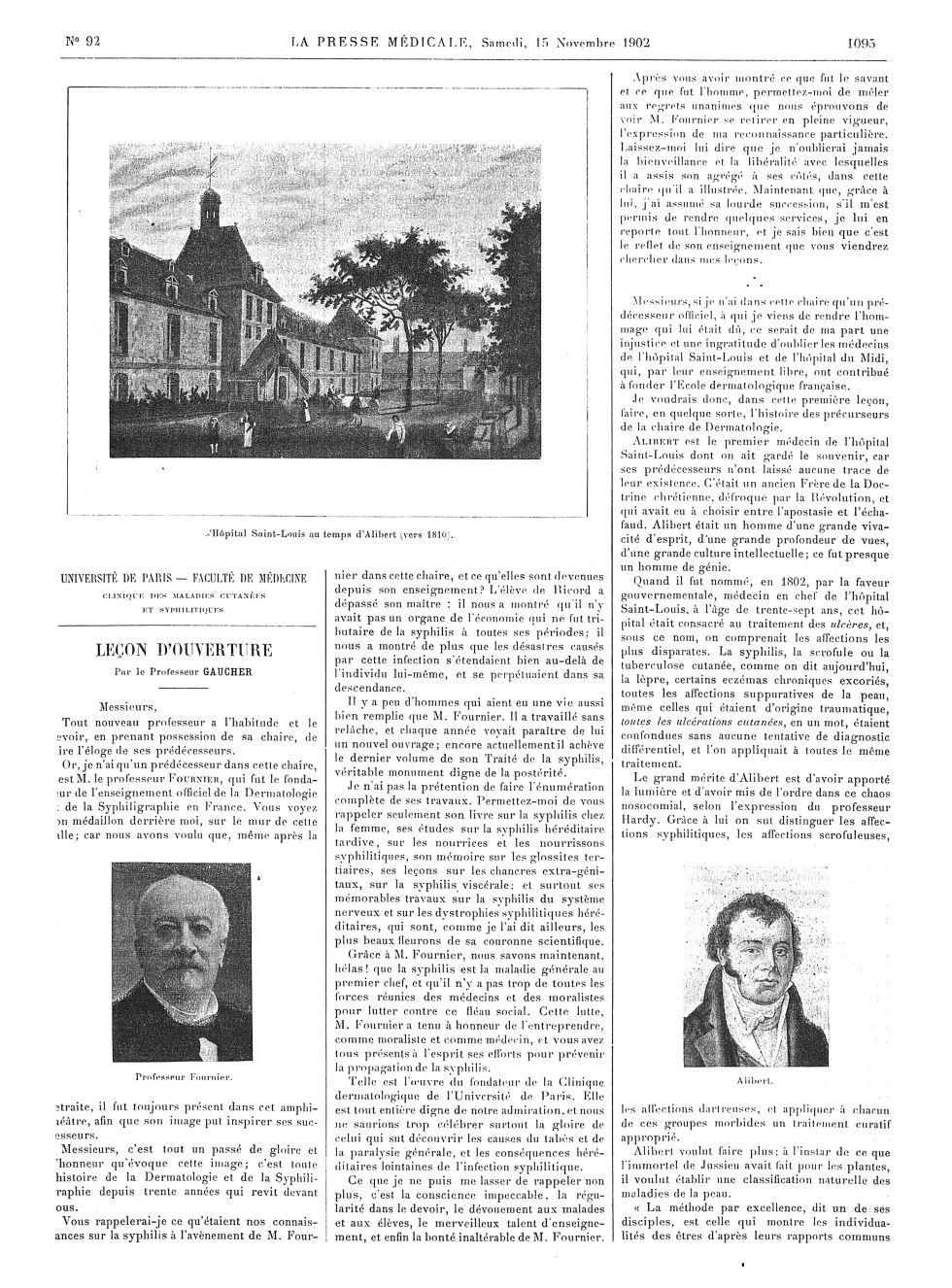 Hôpital Saint-Louis au temps d'Alibert (vers 1810) / Professeur Fournier / Alibert - La Presse médic [...] -  - med100000x1902xartorigx1103