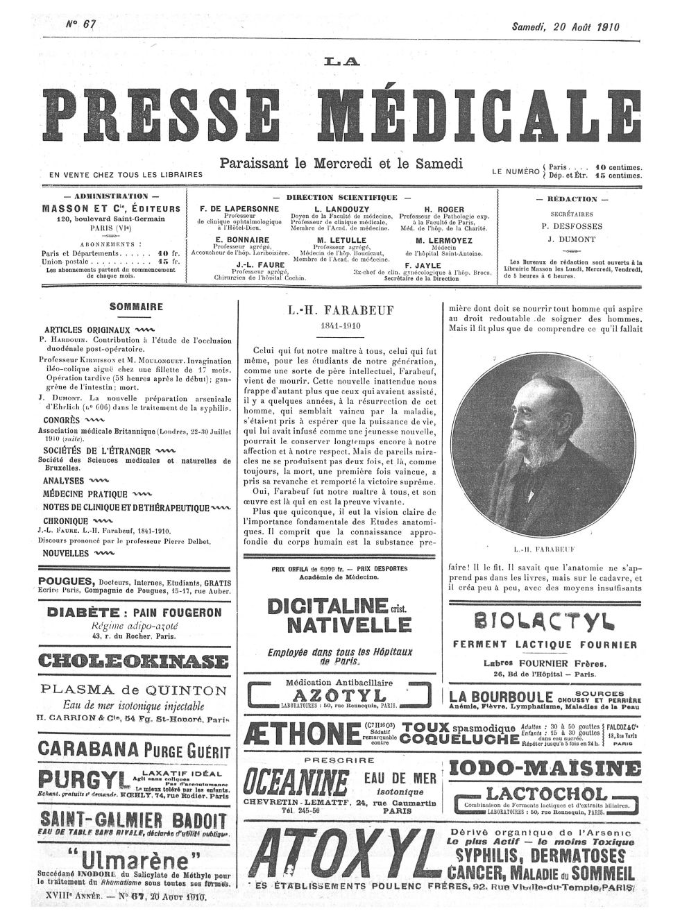 L.H. Farabeuf - La Presse médicale - [Volume d'annexes] -  - med100000x1910xannexesx0689