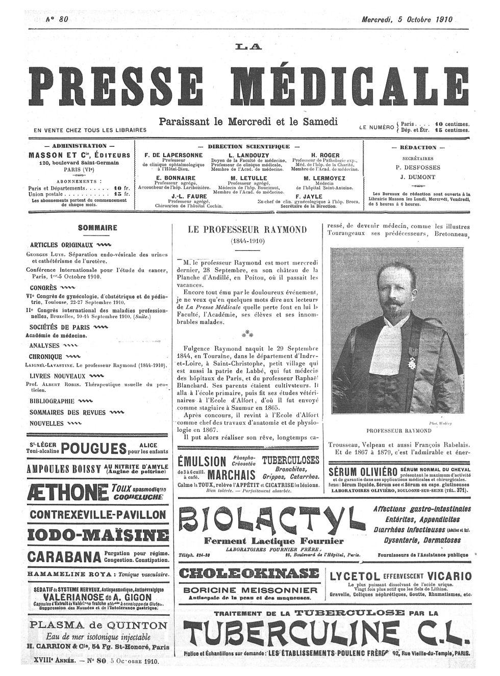 Professeur Raymond - La Presse médicale - [Volume d'annexes] -  - med100000x1910xannexesx0801