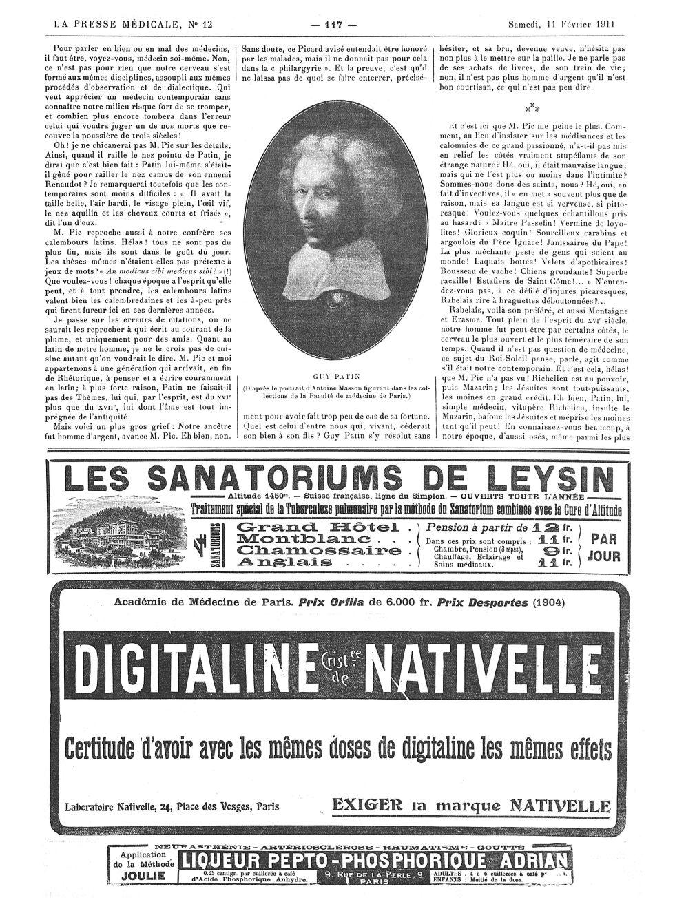 Guy Patin - La Presse médicale - [Volume d'annexes] -  - med100000x1911xannexesx0117