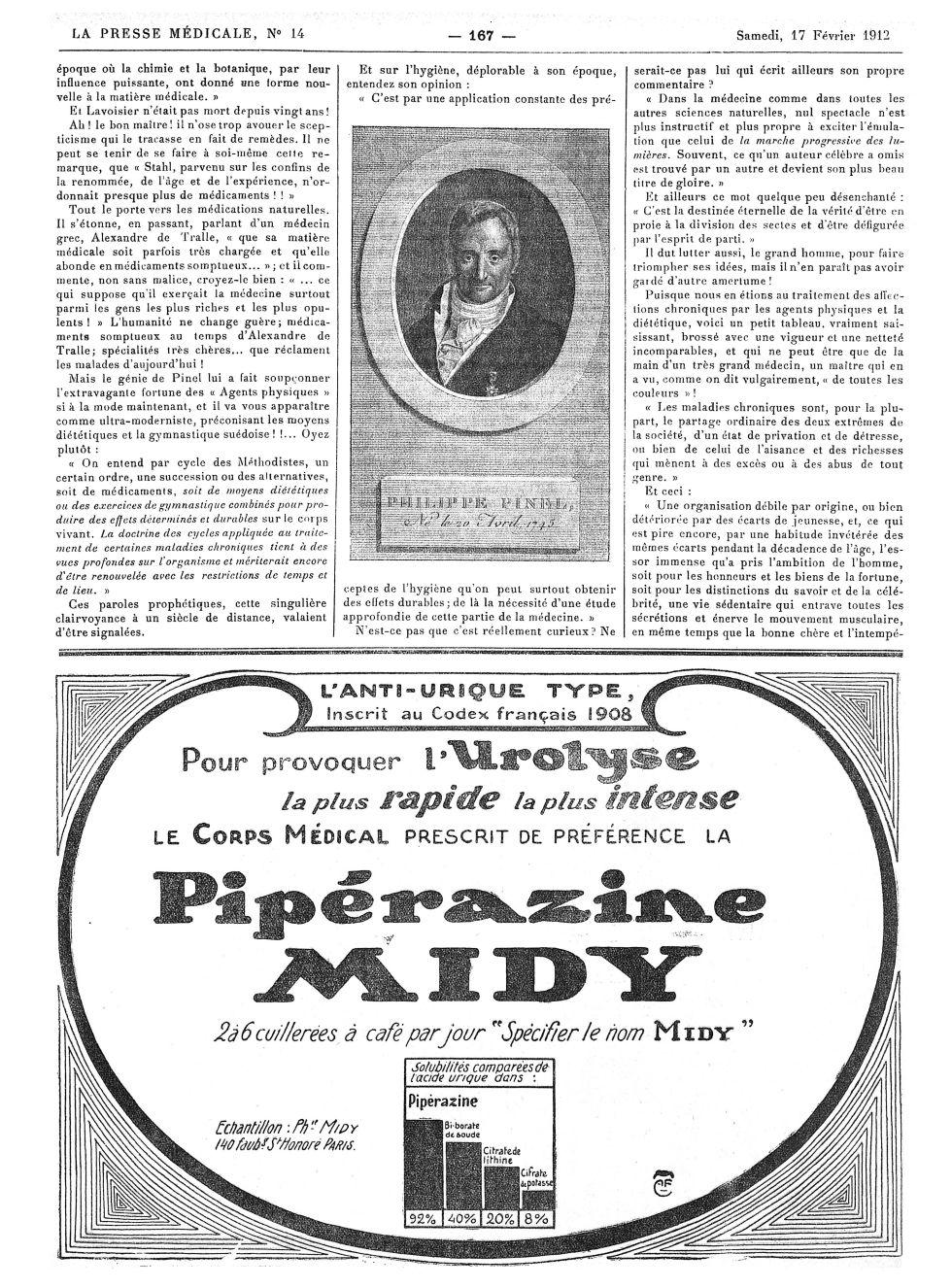Philippe Pinel, Né le 20 Avril 1745 - La Presse médicale - [Volume d'annexes] -  - med100000x1912xannexesx0167