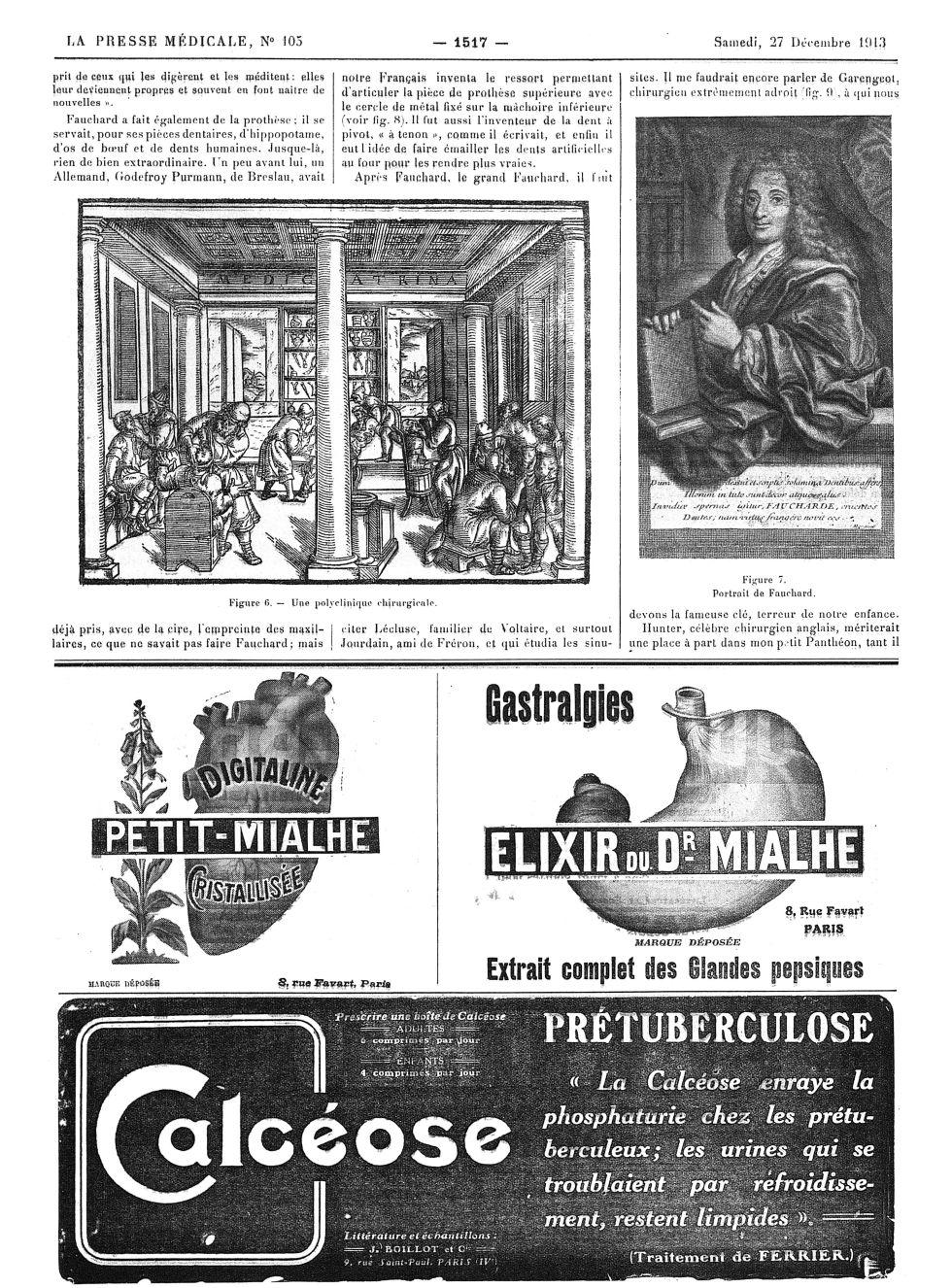 Figure 6. Une polyclinique chirurgicale / Figure 7. Portrait de Fauchard - La Presse médicale - [Vol [...] -  - med100000x1913xannexesx1517