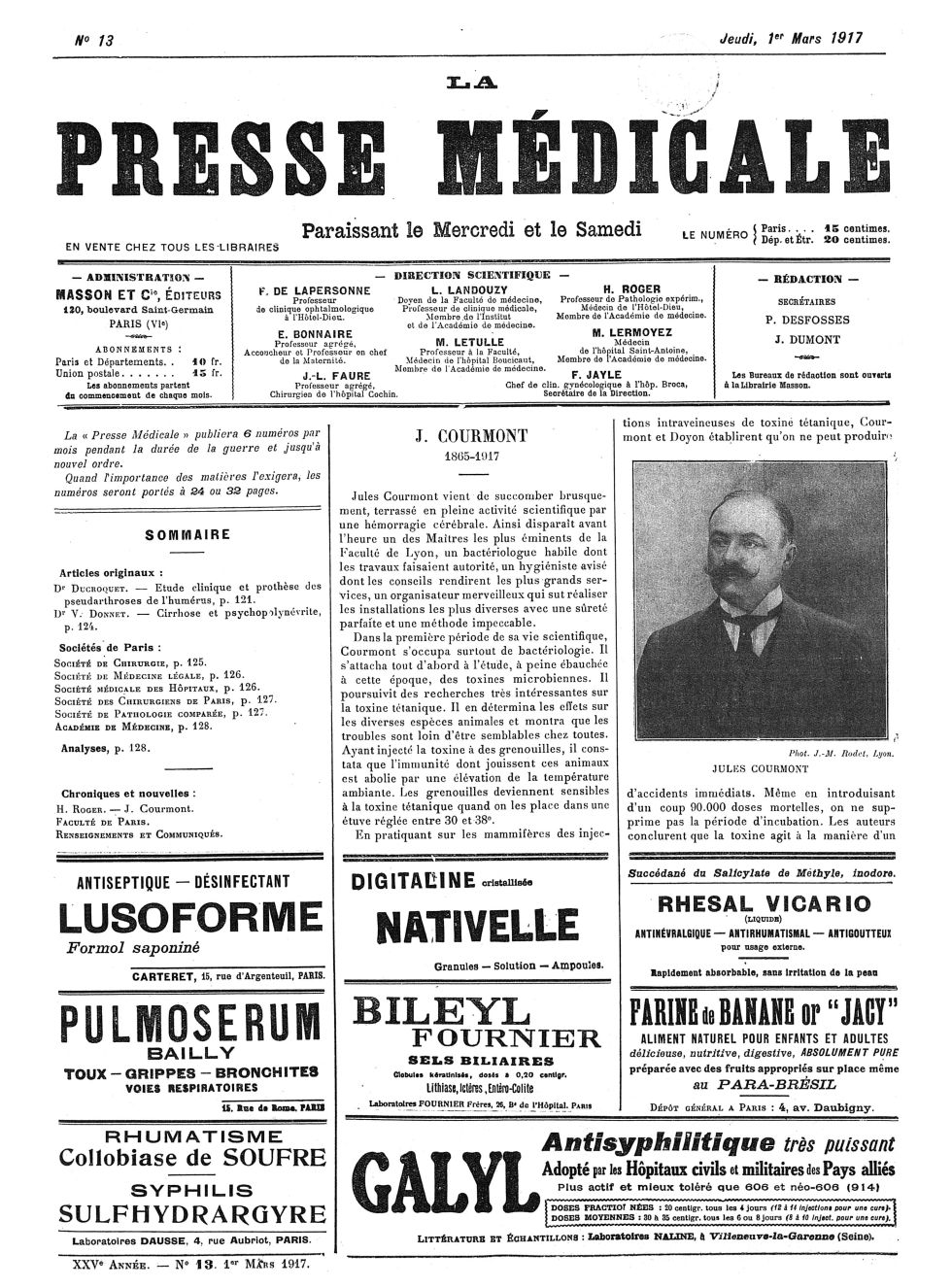 Jules Courmont - La Presse médicale - [Volume d'annexes] -  - med100000x1917xannexesx0129