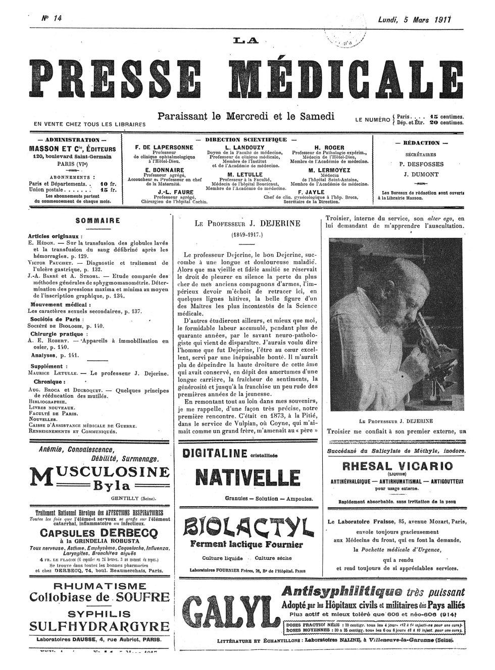 Le Professeur J. Dejerine - La Presse médicale - [Volume d'annexes] -  - med100000x1917xannexesx0137