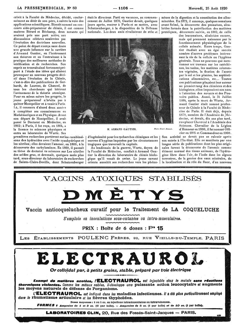 M. Armand Gautier - La Presse médicale - [Volume d'annexes] -  - med100000x1920xannexesx1103