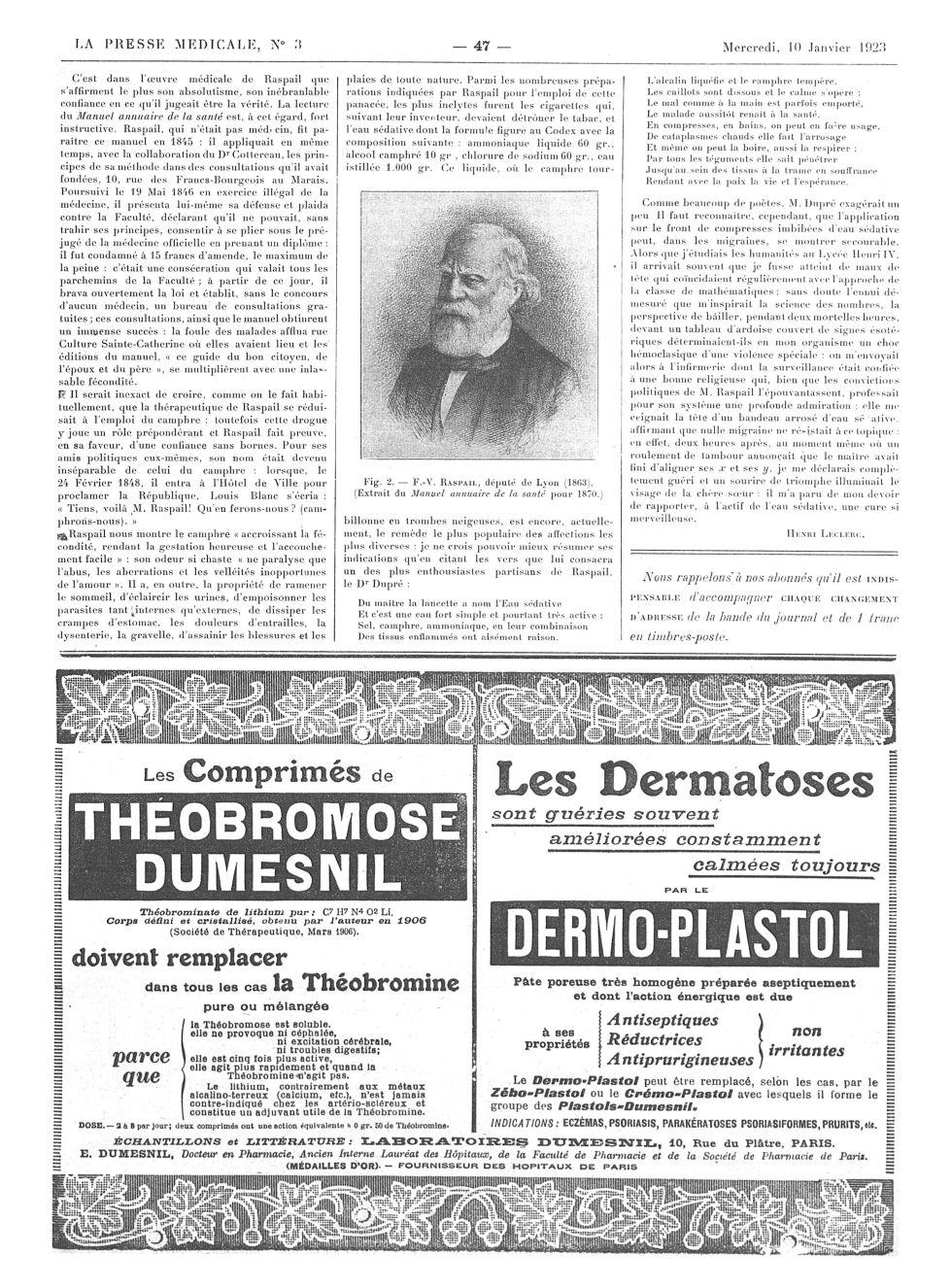 Fig. 2. F.-V. Raspail, député de Lyon (1863). (Extrait du Manuel annuaire de la santé pour 1870.) -  [...] -  - med100000x1923xannexesx0047