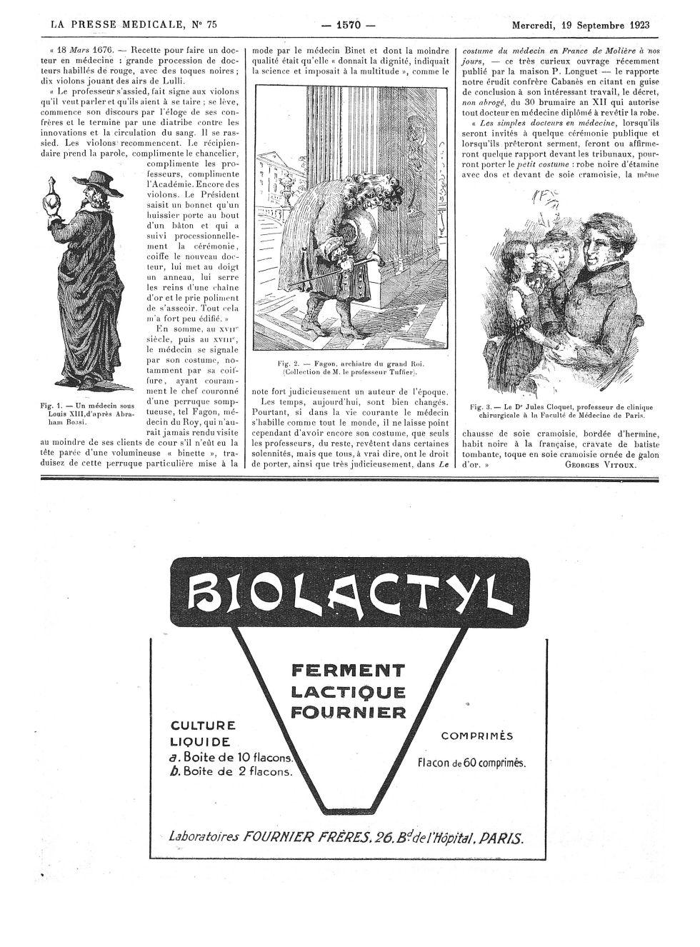Fig. 1. Un médecin sous Louis XIII, d'après Abraham Bossi / Fig. 2. Fagon, archiatre du grand Roi (C [...] -  - med100000x1923xannexesx1570