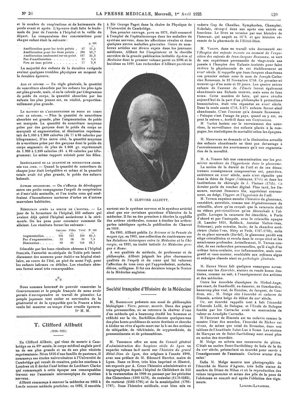 T. Clifford Allbutt - La Presse médicale - [Articles originaux] -  - med100000x1925xartorigx0433
