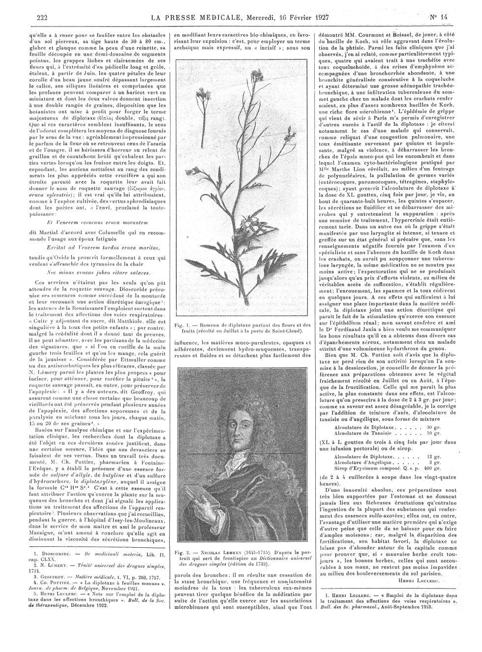 Fig. 1. Rameau de diplotaxe portant des fleurs et des fruits (récolté en Juillet à la porte de Saint [...] -  - med100000x1927xartorigx0226