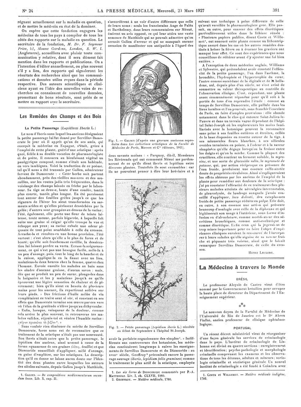 Fig. 1. Galien (d'après une gravure ancienne reproduite dans Les collestions artistiques de la Facul [...] -  - med100000x1927xartorigx0385
