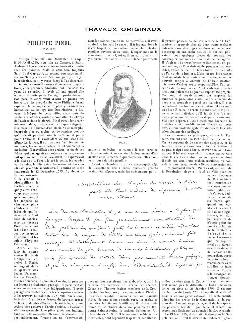Pinel / Figure 2. Document autographe de Pinel - La Presse médicale - [Articles originaux] -  - med100000x1927xartorigx0693