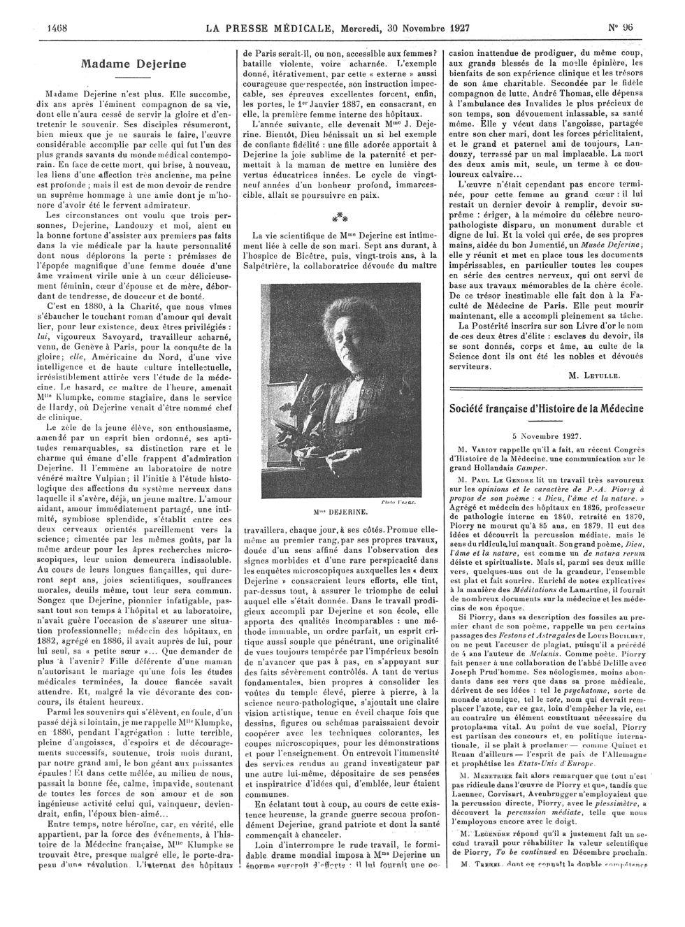 Mme Dejerine - La Presse médicale - [Articles originaux] -  - med100000x1927xartorigx1476