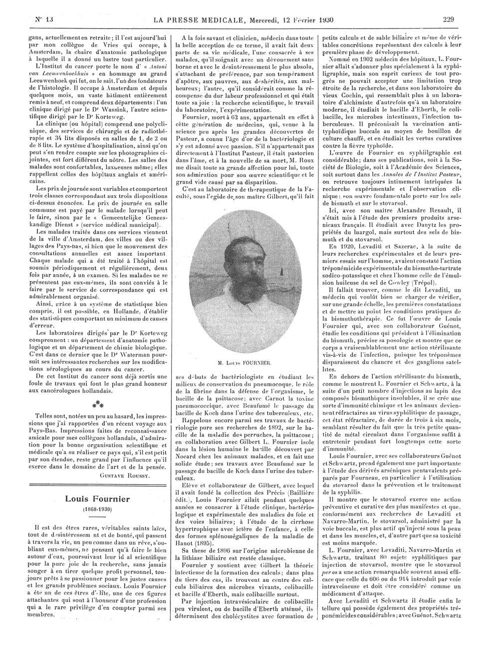 M. Louis Fournier - La Presse médicale - [Articles originaux] -  - med100000x1930xartorigx0229