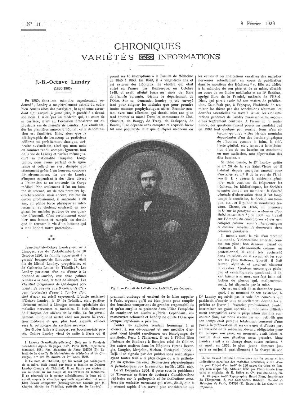 Fig. 1. Portrait de J.-B. Octave Landry, par Courbet - La Presse médicale - [Articles originaux] -  - med100000x1933xartorigx0231