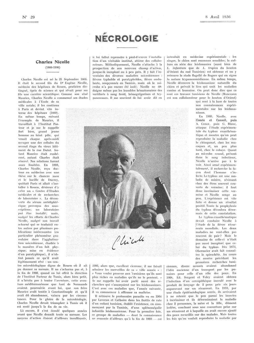 Charles Nicolle (1866-1936) - La Presse médicale - [Articles originaux] -  - med100000x1936xartorigx0595
