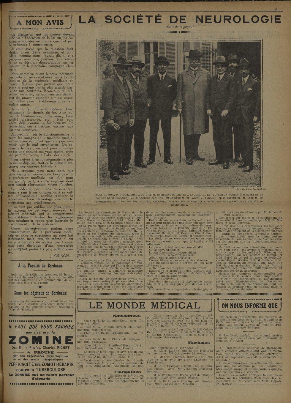 Nous voyons, photographiés à côte de M. Babinsky, de droite à gauche, M. le Professeur Roussy (Prési [...] -  - med100129x1927x0219